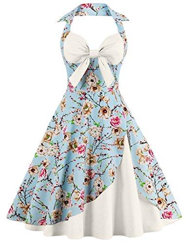FAIRY COUPLE 50er Jahren Retro 3/4 Ärmel Halter Blumen Cocktail lässig junge Leute Kleid DRT009 Elfenbeinfarbige
