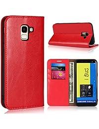 BoxTii Coque Galaxy J6 2018, Étui en Cuir de Protection Portefeuille Rabattable Housse avec Gratuit Protection D'écran en Verre Trempé pour Samsung Galaxy J6 2018 (Rouge)