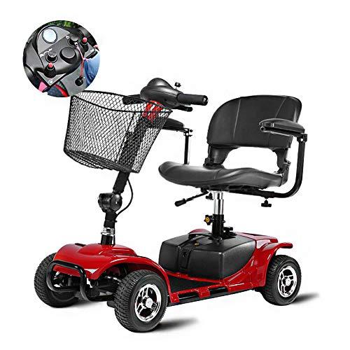 ZZUU Elektro Scooter 4 Räder Senior Für Behinderte Elektro Roller Für Elektrischen Rollstuhl,Faltbar 20 Ampere Lithiumbatterie -Endurance 20 Km,Red