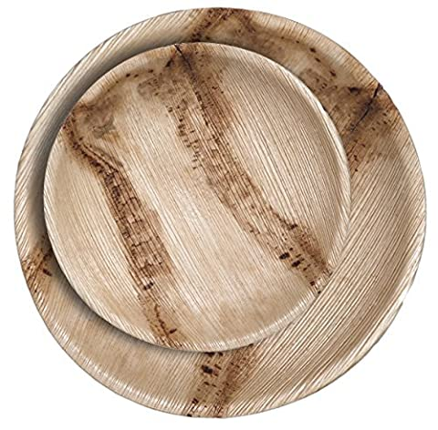 CaterEco 50 Piece Palm Leaf Round Plate Set - 25 10