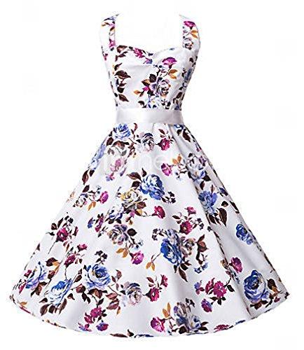 Eyekepper Robe femme demoisellede floral style des annees 1950 robe vintage Blanc