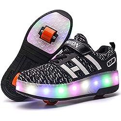 Unisex Enfants LED Doubles roulettes Bouton Poussoir Ajustable Inline Skates Baskets Chaussures de Multisports Outdoor Course Sneakers