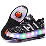 Unisex Enfants LED Doubles roulettes Bouton Poussoir Ajustable Inline Skates Baskets...