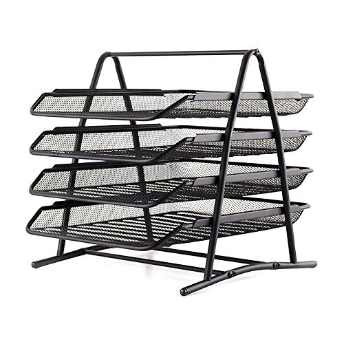 Metallregal Datei-Rack-Informationsrahmen Schublade Datei-Box-Datei Halter Datei Spalte 4 Schicht Storage Box Office Supplies Tabelle Rack-Datei Korb Dateiablage Multi-Funktions-Bibliothek -