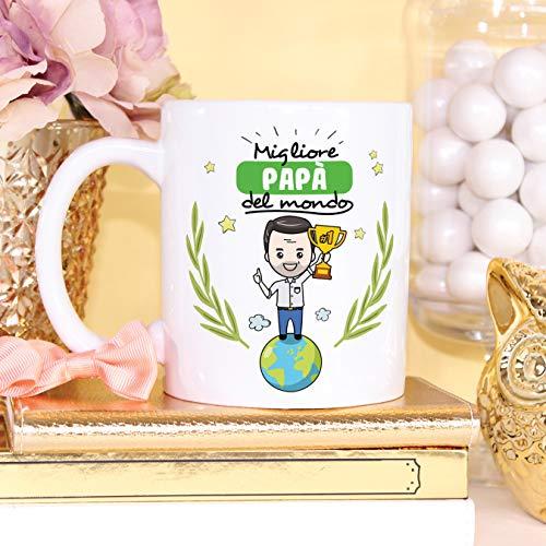 Mugffins papà Tazze Originali di caffè e Colazione da Regalare Papa – Migliore papà del Mondo – Ceramica 350 ml - 6