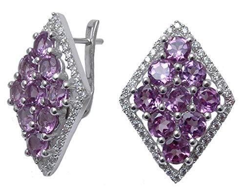 Banithani 925 Reines Silber Amethyst Stein-Bolzen-Ohrring-Set Indische Frauen Fashion Jewelry (Mode-ohrring-bolzen-sets)