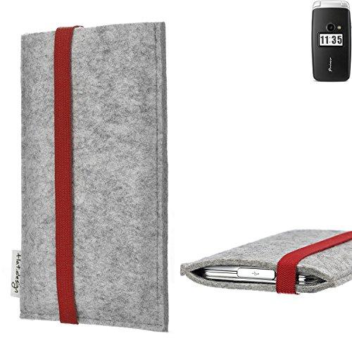 flat.design Handy Hülle Coimbra für Doro Primo 413 individualisierbare Handytasche Filz Tasche rot grau