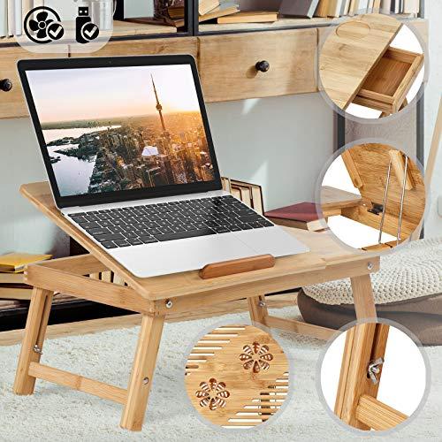 Jago Betttisch mit floralem Muster für Tablet und Laptop | Betttablett aus Bambus in 5 Stufen einstellbar mit USB-Lüfter, Schublade | Laptoptisch, Knietisch, Frühstückstablett, Notebooktisch