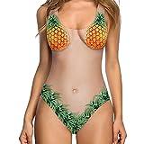 VJGOAL Damen Bikini, Bikini Damen Set Push Up Frauen Mädchen Sexy Beachwear Einteiliger Badeanzug mit Pflanzenmuster(Orange,S)