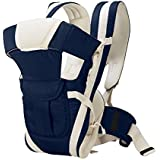 BabyGo Adjustable Hands-Free 4-in-1 Baby Carrier Bag with Waist Belt (Navy Blue) (Universal Size)