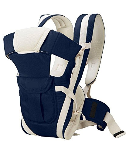 BabyGo Adjustable Hands-Free 4-In-1 Baby Carrier Bag with Waist Belt (Navy Blue)