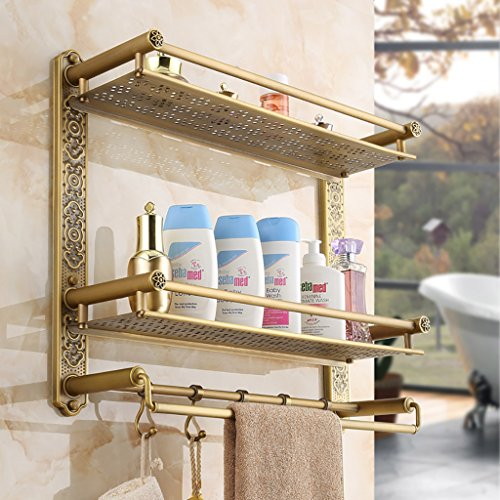 Los estantes del cuarto de baño Antiguo toalla de baño de estilo europeo retro cuarto de baño de almacenamiento de baño toallero de lujo ( Tamaño : 60cm )