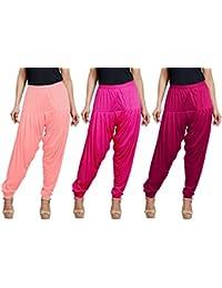 Goodtry Women's Viscose Patiala Free Size Pack of 3-Light Pink-Rose-Sheel