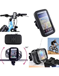 SAVFY – Negro Soporte Funda Cascara Bolsa Para Bicicleta Impermeable 360 º Gira Impermeable Agua Funda Para iphone4 4S / 5 / 5S