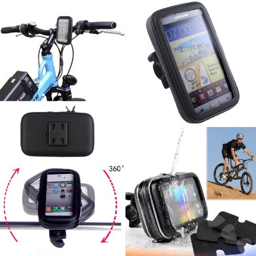 SAVFY - Negro Soporte Funda Cascara Bolsa Para Bicicleta Impermeable 360 º Gira Impermeable Agua Funda Para iphone4 4S / 5 /
