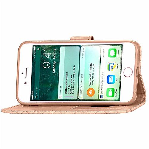Custodia in Pelle per iPhone 7 (4.7 Pollici), bling perla flip cover per iPhone 7 (4.7 Pollici), Vandot 3D Lusso Accessori Duro protezione completa Antigraffio Vibrazione Portafoglio con Carte Slot Cr Design 14