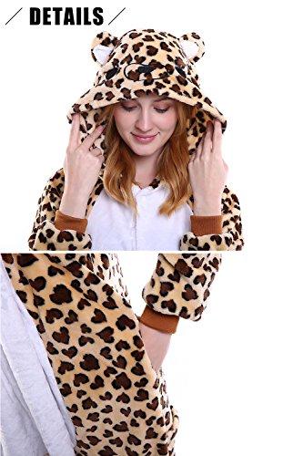 Dolamen Adulto Unisex Kigurumi Pigiama Onesie, Donna Uomo Anime Cosplay Halloween Natale Party Costume Attrezzatura Sleepwear Leopard