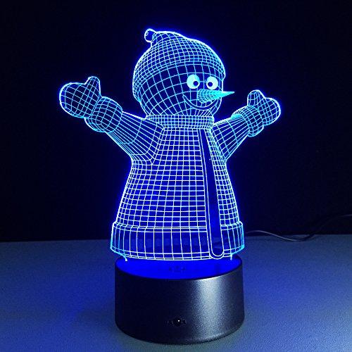 Ilusión Óptica 3D Luz Nocturna, 48 Colores, Muñeco De Nieve, Interruptor Sensible Al Control Remoto/Táctil, Carga De La Batería Usb/Aa, Decoración Del Hogar Regalo Perfecto