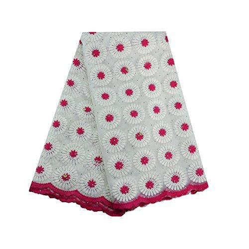 laceqin 5Meter afrikanischen Net Spitze Swiss Voile Spitze Stickerei und Strass Schnur Spitze 5Farben. rose Cord-strass-rose