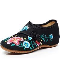 Fanwer Mujer Glory Morning Bordado Pisos de Paño Profundo Casual Walking National Square Dancing Shoes