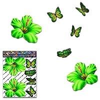 Blume Hibiscus Green + Schmetterling Tier kleine Pack Auto Aufkleber - ST00023GR_SML - JAS Aufkleber