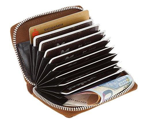 Leder MULITICARD Geldbörse Minibörse 12 Karten Kreditkartenetui Visitenkartenetui + Schlüßelmäppchen (Brown) Cognac