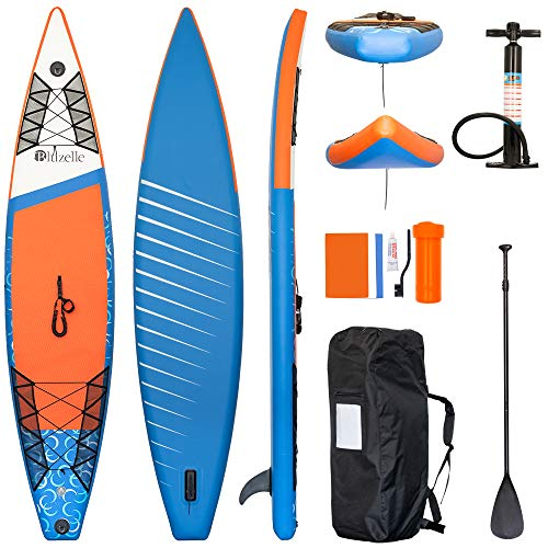 bluzelle All-in-One SUP Paket, Aufblasbares Stand Up Paddling Board Double Layer mit Paddel, Pumpe, Leash, Rucksack, Kit - Komplett Set - Orange Blau