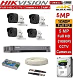 #9: HIKVISION Ultra HD 5MP Cameras Combo KIT 4CH HD DVR+ 4 Bullet Cameras +1TB Hard DISC+ Wire ROLL +Supply & All Required Connectors