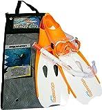 Aquazon Schnorchelset Flipper, Flossen, Schnorchelbrille, Schnorchel incl. Netbag, Orange-Weiss, 38-39,Kinder, Damen