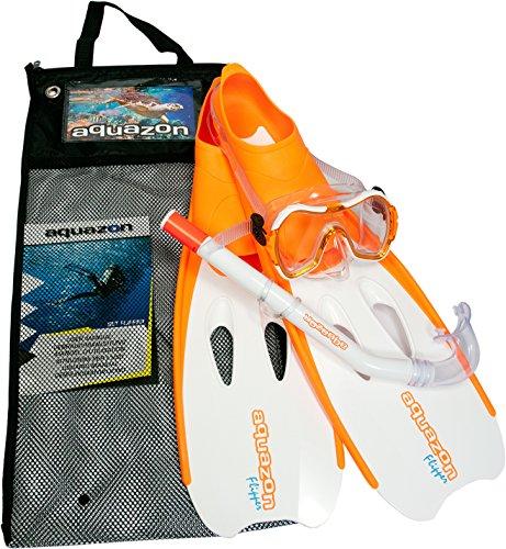 Aquazon Schnorchelset Flipper, Flossen, Schnorchelbrille, Schnorchel incl. Netbag, Orange-Weiss, 36-37,Kinder, Damen