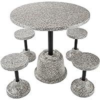 TecTake Conjunto de Muebles de jardín Apariencia de Piedra | 4 taburetes 1 Mesa | Resistente
