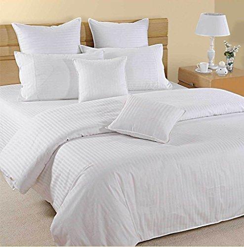 Fadendichte 12006-Bettlaken-Set (weiß gestreift, Super King-Größe 180x 200cm–(6ft x 6ft 6in), Pocket Größe 42cm) 100% ägyptische Baumwolle Premium Qualität
