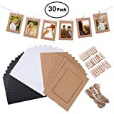 Fitchhal Pragmatisches 30PACK Paper Photo Frame 6x4, Photo Frame Set Multiple Photos, Picture Mats with Mini Wooden Clips and