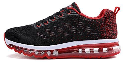 tqgold Unisex Herren Damen Sportschuhe Laufschuhe mit Luftpolster Turnschuhe Profilsohle Sneakers Leichte Schuhe (Schwarz Rot,46 EU) (Schuh Größe)