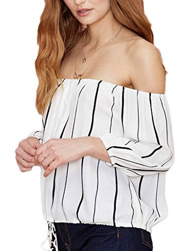 Minetom Damen Schulterfrei Freizeit Streifen Langarm Bluse Sommer Party Club T-shirt Tops Strandwear Streifen