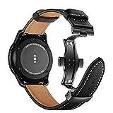 Myada per Cinturino Samsung Galaxy Watch 46m Pelle, Cinturino Samsung Gear S3 Frontier 22mm, Cinturino Samsung Gear S3 Classic, Braccialetto Ricambio Silicone Polso Band Fascia -Nero