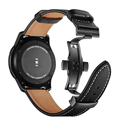 Myada Lederarmband Galaxy Watch 46mm Armband Gear S3 Frontier Leder,Smartwatch Armband 22mm Leder Herren Armbänder Gear S3 Classic Echtes Leder Ersatzband Sport Uhrenarmband