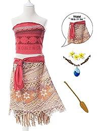 RioRand Moana Mädchen Abenteuer Outfit Cosplay Kostüm Rock Set Prinzessin Kleid mit Halskette ,Flower and Oar