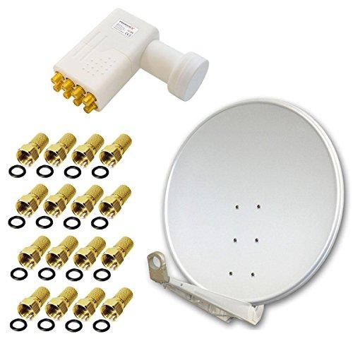 Antenne PremiumX DELUXE100 Aluminium 100cm Digital SAT Schüssel Spiegel in Hellgrau für HDTV HD+ 3D + LNB Octo WE 0,1 dB PremiumX PXO-08 zum Direktanschluss von 8 Teilnehmern + 16 F-Stecker goldfarbig GRATIS!!!