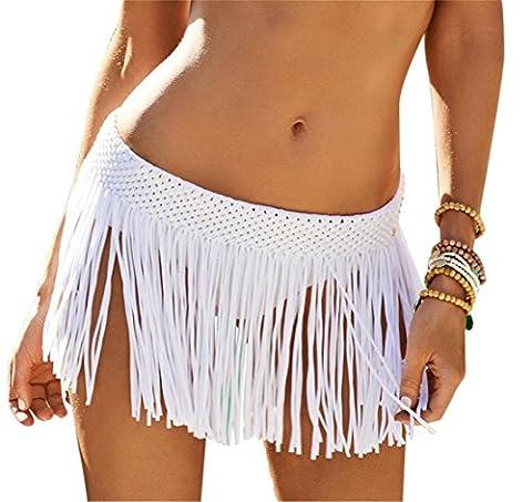 Moxeay Damen Minirock, gehäkelt, mit elastischer Taille, Fransen Gr. One Size, weiß