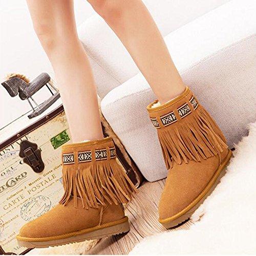 FUFU Stivali da donna Stivali Stivali da neve Comfort Casual Flat Heel nappa Colore del caffè ( Colore : A , dimensioni : EU38/UK5.5/CN38 ) A