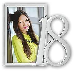 Idea Regalo - ZEP P7346Collezione Compleanno Vicky Cornice portafoto Speciale 18Anni Metallo Argento 10x 15cm