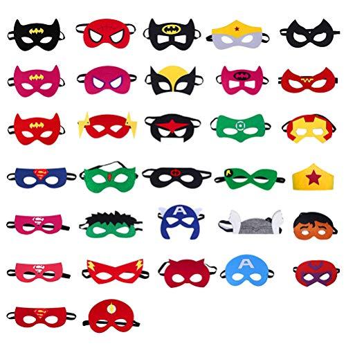 WOWOSS 32 Stücke Superheld Masken Artikel für Kinderfeste Superheld Maske Fühlte Sich Geburtstagsmasken Zubehör für Kinder