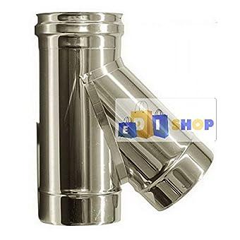 CHEMINEE PAROI SIMPLE TUYAU TUBE INOXIDABLE AISI 316 - dn 350 raccordo a tee 135° canna fumaria tubo acciaio inox 316 parete semplice
