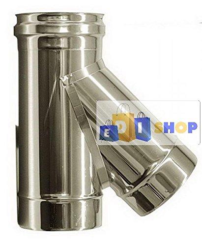 CHEMINEE PAROI SIMPLE TUYAU TUBE INOXIDABLE AISI 316 - dn 150 raccordo a tee 135° canna fumaria tubo acciaio inox 316 parete semplice