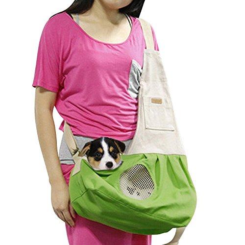 Hund Katze Tragetuch Schulter Tragetasche Welpen Haustier Tasche mit integriertem Haken Pet Travel Atmungsaktiv Baumwolle Leinwand verstellbar Haken Grün