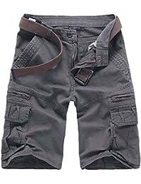 Elonglin Hommes Shorts Bermudas Cargo Outdoor Coton Casual Lâche Poche Eté Outdoor Vintage Cargo Shorts Bermuda Pantacourt sans Ceinture