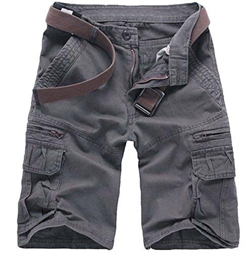 WSLCN Homme Eté Cargo Shorts Bermuda Pantacourt Vintage Short de Sport Outdoor Shorts sans Ceinture C-Gris FR 42 (Asie 34)