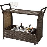 SoBuy® FKW48-BR Bar mobile Bar Chariot Desserte de jardin roulant avec bassine à glaçons pour boissons fraiches