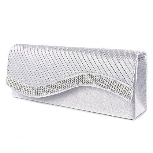 Fashion Damen Welle Strass Handtasche Clutch Abendtasche Brauttasche Hochzeit 5 Farbe Silber